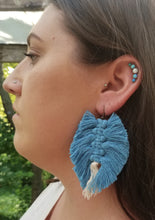 Load image into Gallery viewer, Blue Macrame Feather Earrings