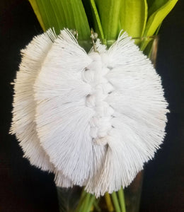 White Macramé Feather