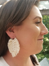 Load image into Gallery viewer, Mini Macrame Feather Earrings