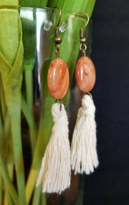 Natural Beaded Tassel Earrings