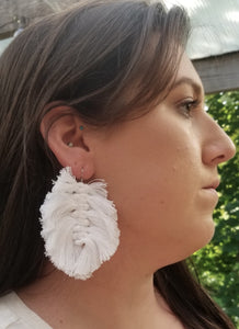 White Macrame Feather Earrings