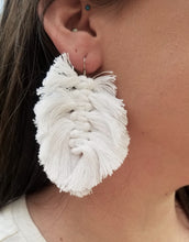 Load image into Gallery viewer, White Macrame Feather Earrings
