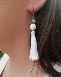 White Beaded Tassel Earrings