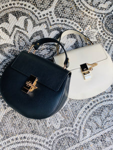 LEATHER BAG 'MY FAV' ZWART