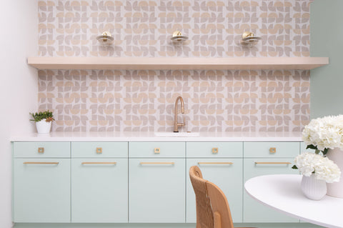 Geometric tiles with mint cabinetry in Palm Springs