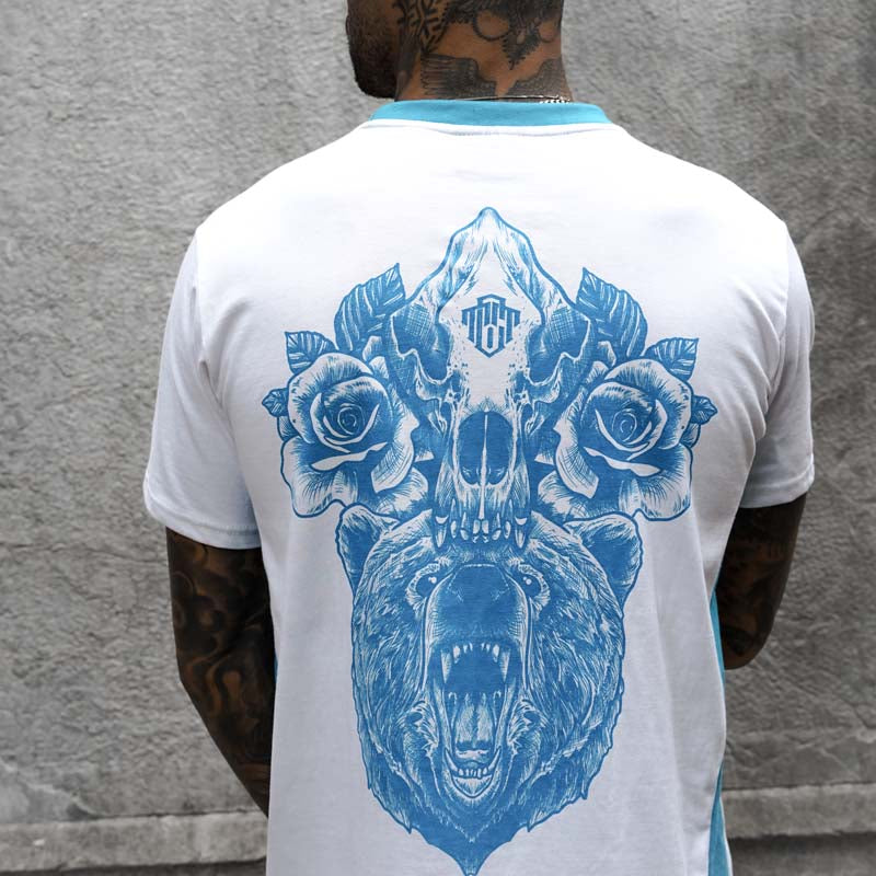 Bears N Roses White and Blue Tee
