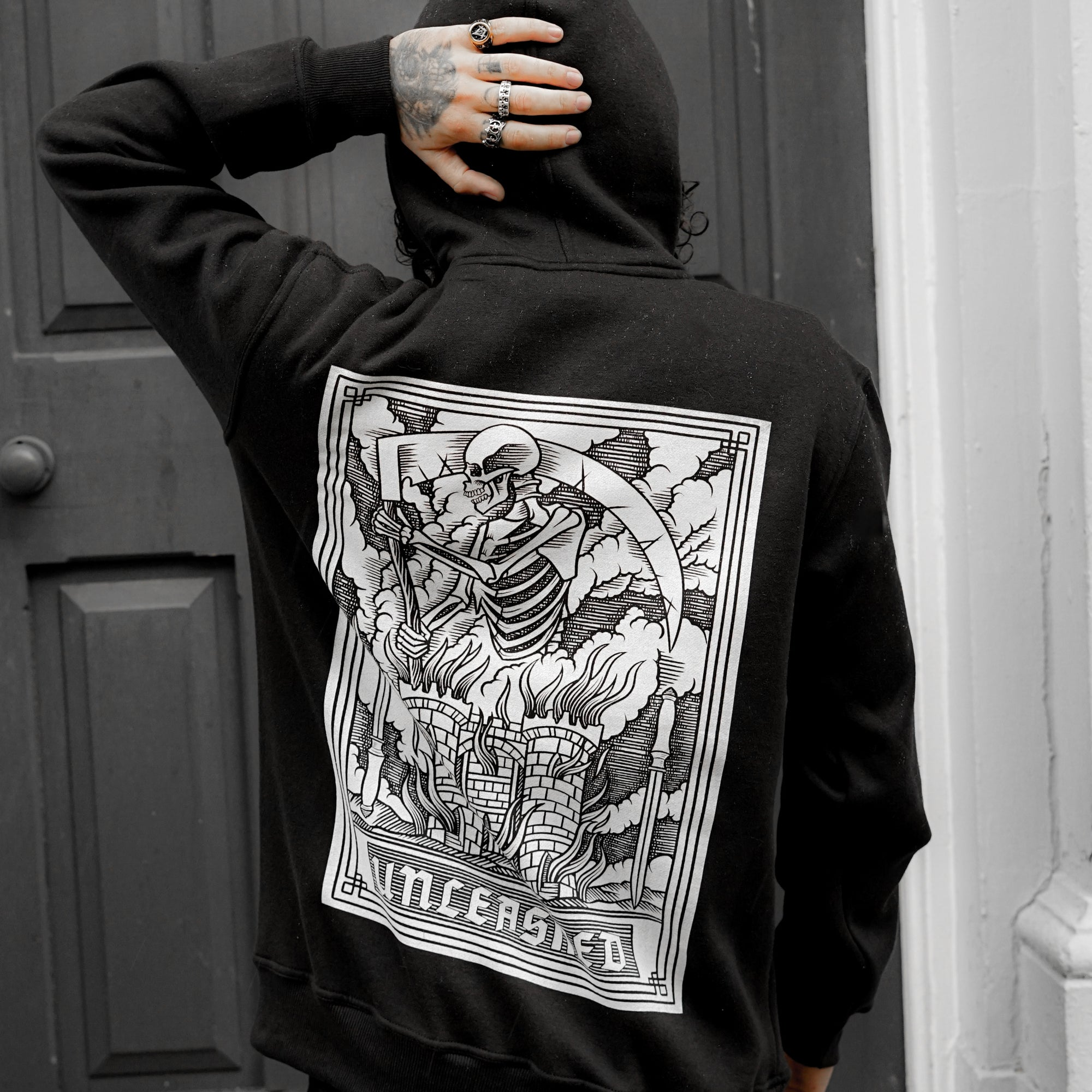Azrael Unleashed Unleashed and Moth Black Pull Hoodie