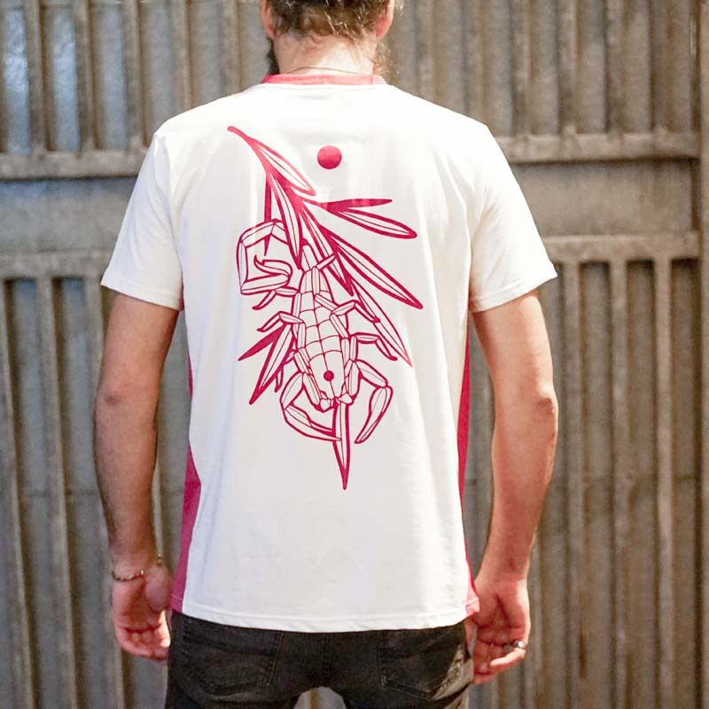 Scorpion Kiss White and Pink Tee