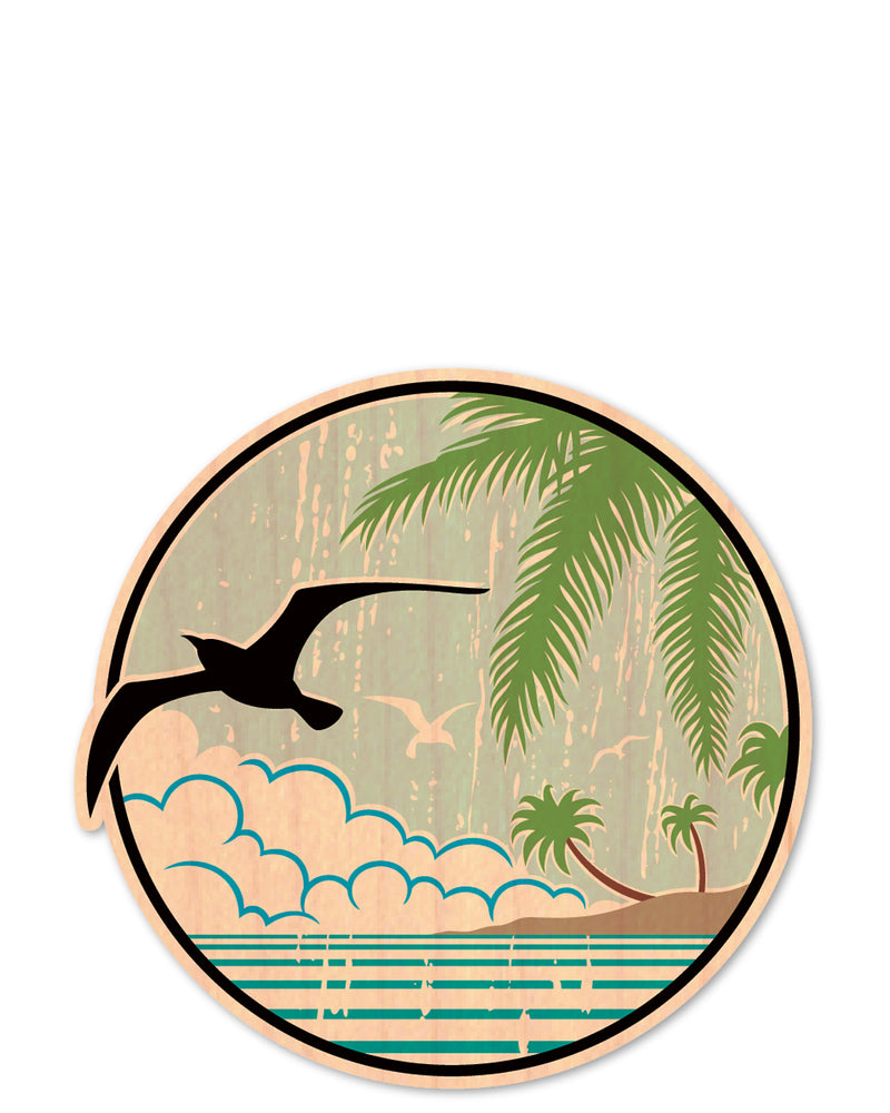 bird & palm bottle tat™ (wood sticker!)