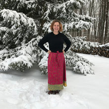 Load image into Gallery viewer, woman standing outdoors surrounded by snow and wearing a bright red sari wrap skirt