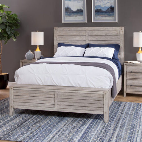 American Woodcrafters Aurora King Panel Bed in Whitewash 2810-66PNPN