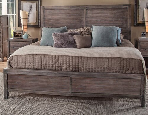 American Woodcrafters Aurora King Panel Bed in Weathered Grey 2800-66PNPN