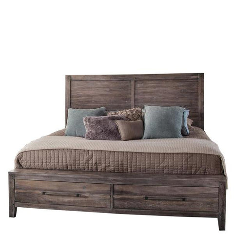 American Woodcrafters Aurora King Panel Bed w/ Storage Footboard in Weathered Grey 2800-66PNST