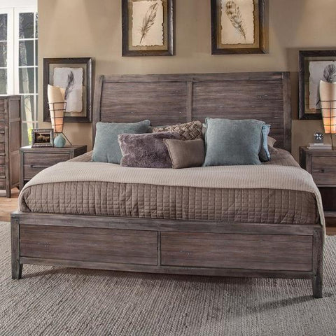 American Woodcrafters Aurora King Sleigh Bed w/ Panel Footboard in Weathered Grey 2800-66SLPN