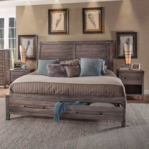 American Woodcrafters Aurora King Sleigh Bed w/ Storage Footboard in Weathered Grey 2800-66SLST