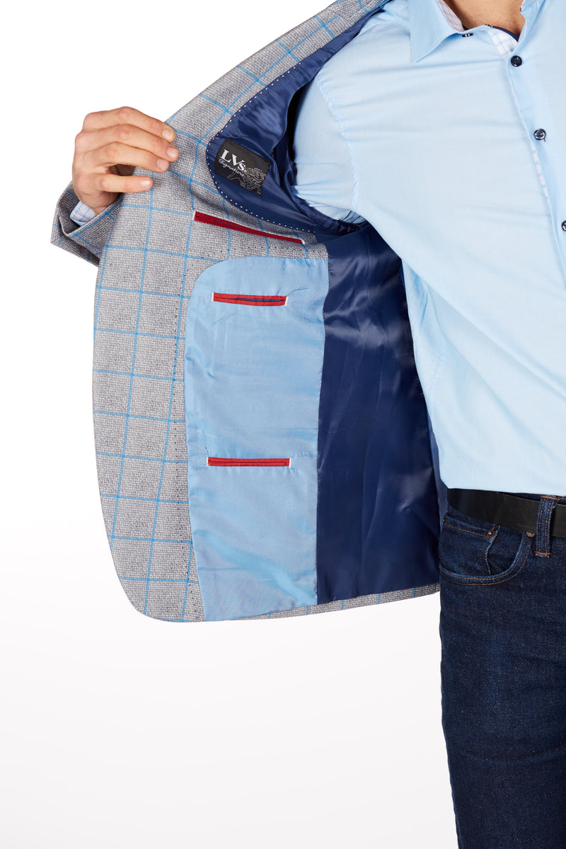 Wrinkle-Resistant Blazer - Slim Fit - Grey/Blue