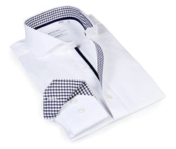 Classic White Weave with contrast trimming - Slim Fit