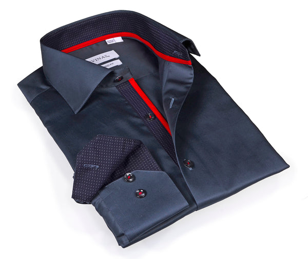 Classic Charcoal Shirt - Slim Fit - contrast trimming