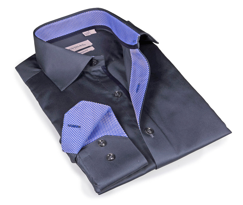 Signature Charcoal Shirt - blue contrast details - Slim Fit