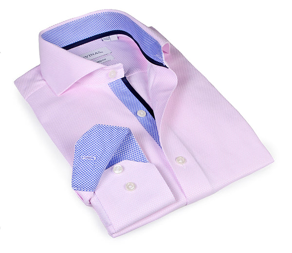 Pink Shirt - contrast blue trimmings - Tailored (Slim) Fit