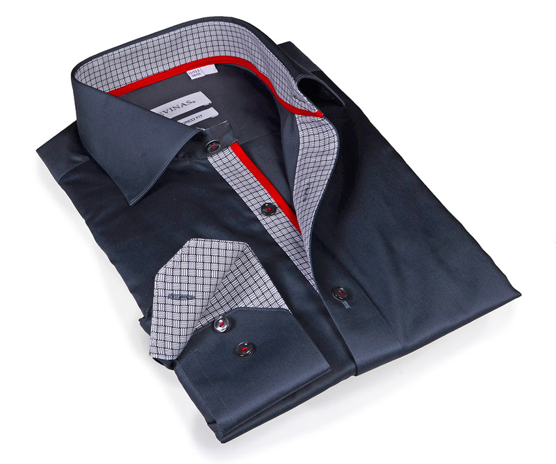 Charcoal Signature Shirt -  Tailored (Slim) Fit -contrast trimming