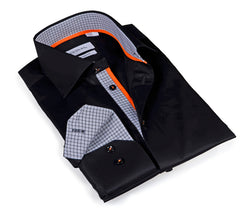 Iconic Black Shirt - contrast trimming - Slim Fit
