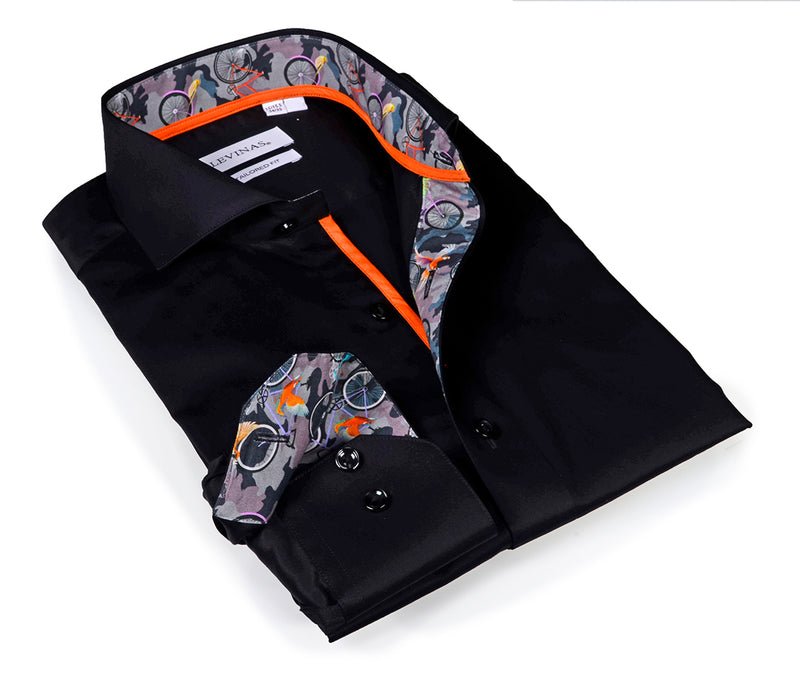 Iconic Black Shirt - camo details - Tailored (Slim) Fit
