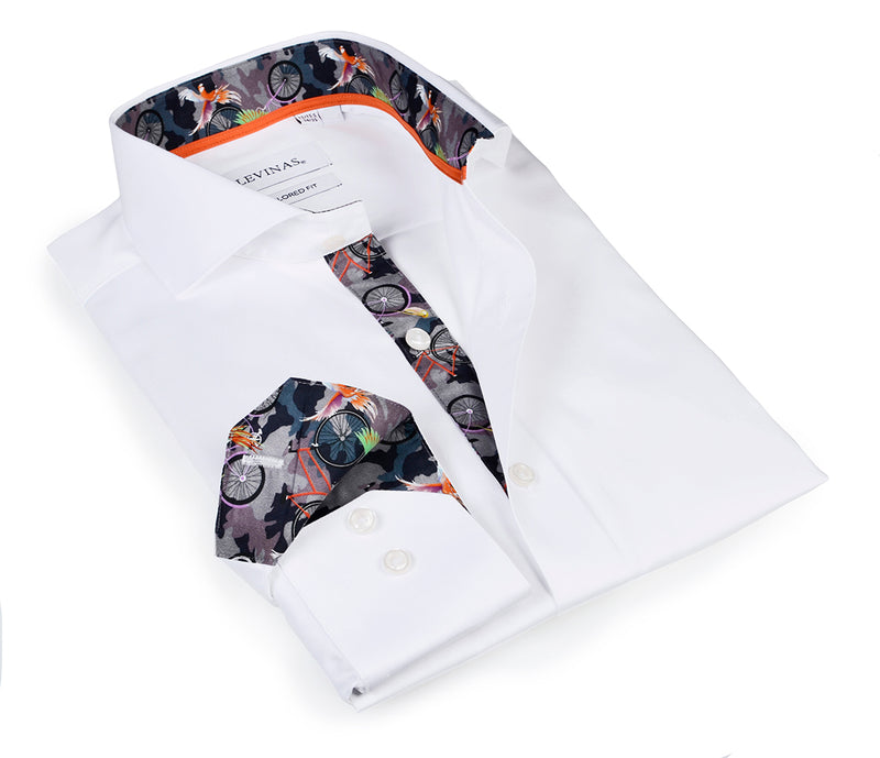 Casual White Shirt - Slim Fit - contrast camo trimming