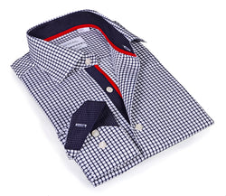 Navy Signature Check - with classic contrast trimmings - Slim Fit