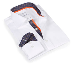 White Shirt - contrast signature classsic trimming - Slim Fit