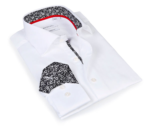 Classic Timeless White Shirt -  Slim Fit - contrast trimming