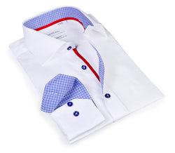 Essential White Shirt - contrast sky blue trimming - Slim Fit