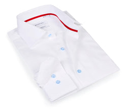 Timeless White Shirt - The cotton and tencel™ fabric - Lt Blue Buttons - Slim Fit