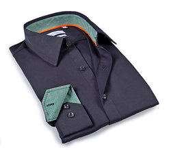 Charcoal shirt with contrast trimming inside the collar & cuff. Tailored Fit in performance-stretch fabric.