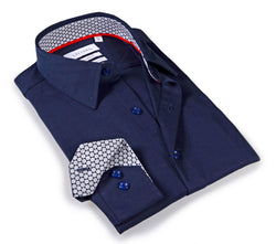 Navy shirt with contrast trimming inside the collar & cuff. 6-way Stretch Collection - Tailored Fit.