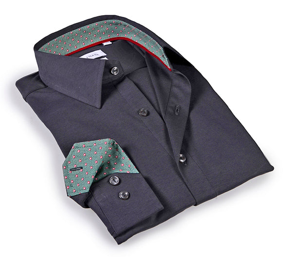Charcoal shirt with contrast trimming inside the collar & cuff. 6-way Stretch Collection - Tailored Fit.