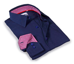 Navy shirt with contrast trimming inside the collar & cuff. Tailored Fit in performance-stretch fabric.