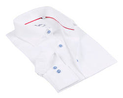 White Long Sleeve Shirt with contract trimming- Tall Sizes - contemporary fit