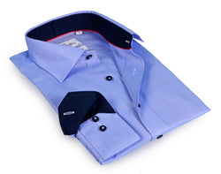 Lt Blue Long Sleeve Shirt with contract trimming- Tall Sizes - contemporary fit