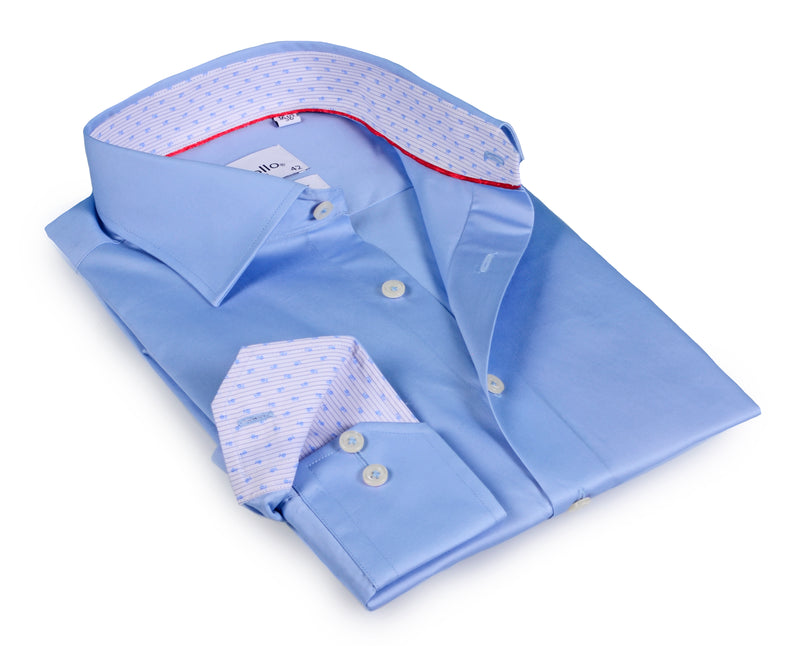Blue Long Sleeve Shirt with contract trimming- Tall Sizes - contemporary fit