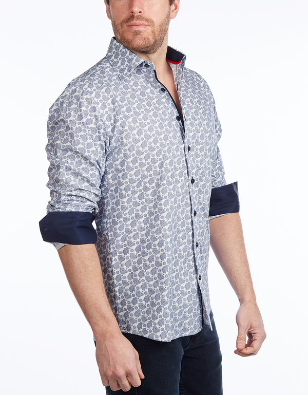 Contrast Collar Button-Up Shirt // Navy -  Contemporary Fit - Contrast trimming