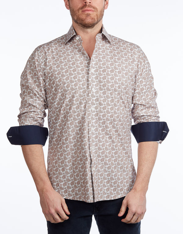 Lt Brown Paisley Shirt //  - Contemporary Fit - contrast  trimming