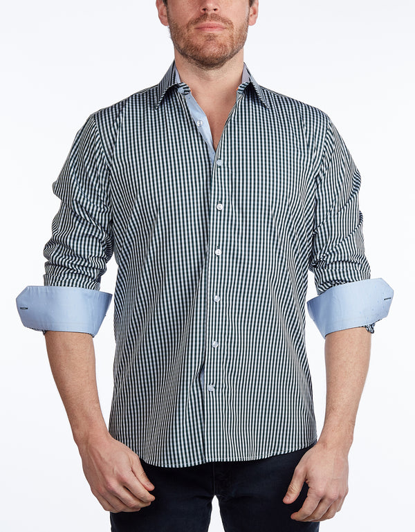Green Signature Shirt //  - Contemporary Fit - contrast  trimming