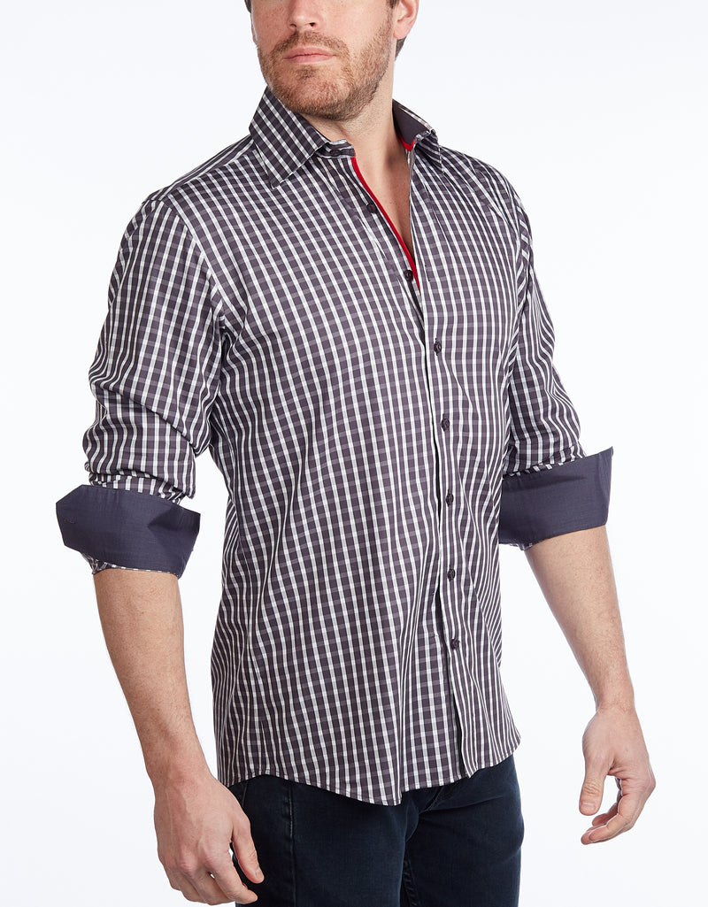 Button-Up Shirt // Charcoal -  Contemporary Fit - Contrast trimming