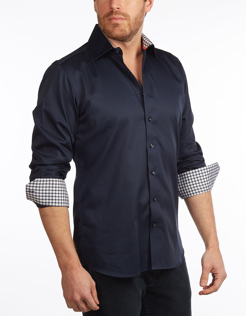 Contrast Collar Button-Up Shirt //  - Contemporary Fit - contrast  trimming