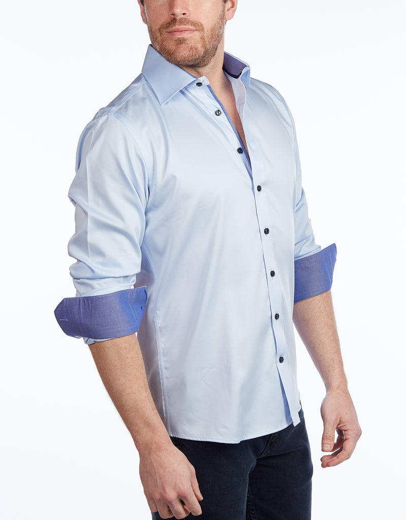 Lt Blue Signature Shirt //  - Contemporary Fit - contrast  trimming