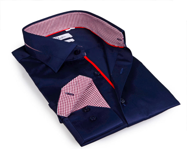 Navy Boy's long sleeve shirt with contrast details inside the collar, cuff and the placket.