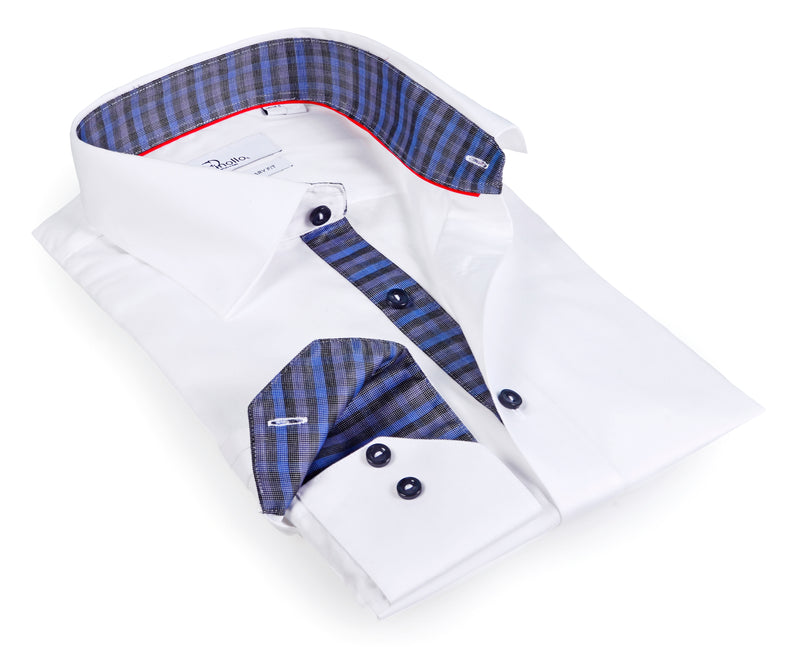 White Boy's long sleeve shirt with contrast details inside the collar, cuff and the placket.