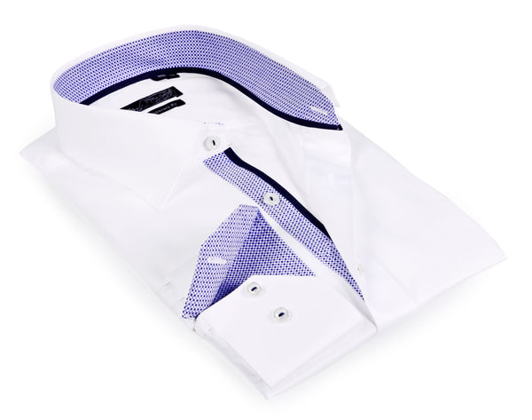 Boy's long sleeve shirt with contrast details inside the collar, cuff and the placket.