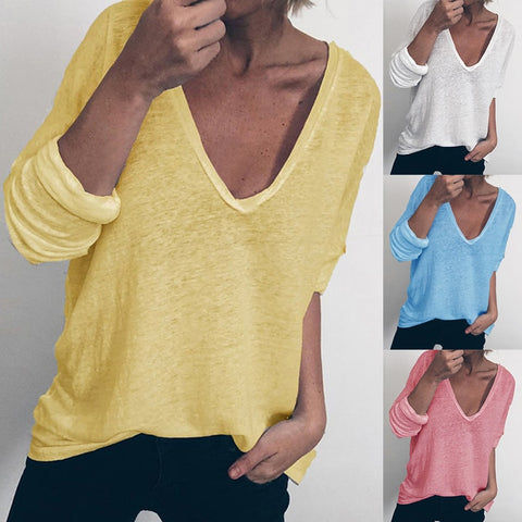 Solid Sport Top V-Neck Long Sleeve - S-2XL - 4 Colors